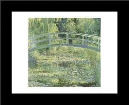 Water Lily Pond And Bridge art print poster with simple frame