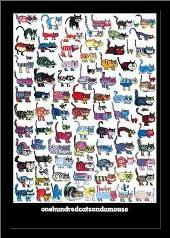 100 Cats and a Mouse art print poster with simple frame