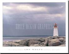 Lighthouse, Nova Scotia art print poster with block mounting