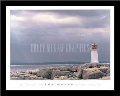 Lighthouse, Nova Scotia art print poster with simple frame