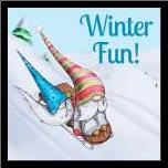 Winter Fun! art print poster with simple frame