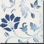 Blue Floral Shimmer I art print poster with block mounting