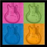Colorful Guitar Pack art print poster with simple frame