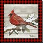 Winter Red Bird IV art print poster with block mounting