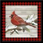 Winter Red Bird IV art print poster with simple frame
