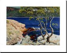 Red Rocks At Agay art print poster with block mounting