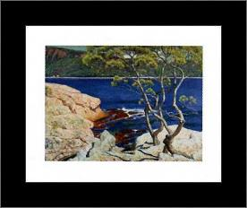 Red Rocks At Agay art print poster with simple frame