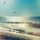 Coastline Waves no Word art print poster transferred to canvas