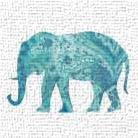 Boho Teal Elephant II art print poster transferred to canvas