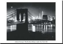 Brooklyn Bridge At Night art print poster with block mounting