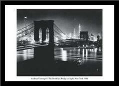Brooklyn Bridge At Night art print poster with simple frame