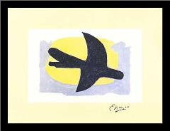 Blue and Yellow Bird art print poster with simple frame