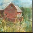Barn Orchard art print poster with block mounting