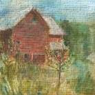 Barn Orchard art print poster transferred to canvas