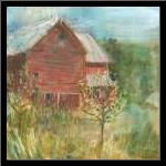 Barn Orchard art print poster with simple frame