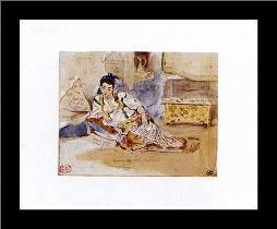 Arab Woman Seated art print poster with simple frame