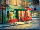 Red and Green Cafe art print poster with block mounting