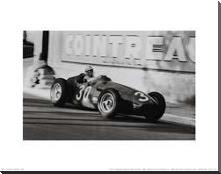 Grand Prix of Monaco 1956 art print poster with block mounting