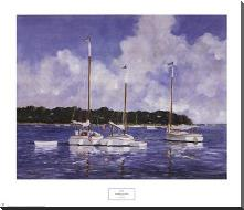 Moored Cat Boats art print poster with block mounting