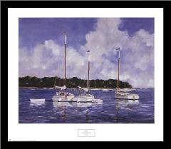 Moored Cat Boats art print poster with simple frame