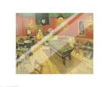 Night Cafe with Pool Table art print poster with laminate