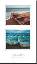 Beached Boats art print poster with block mounting