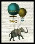 Elephant Ride I v2 Newsprint art print poster with simple frame