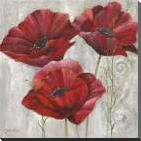 THREE POPPIES II art print poster with block mounting