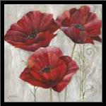 THREE POPPIES II art print poster with simple frame