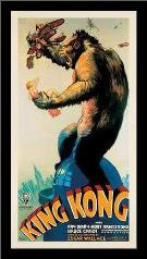 King Kong, 1933 art print poster with simple frame
