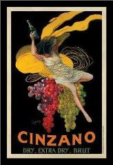 Cinzano, 1920 art print poster with simple frame