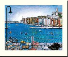 Portovenere art print poster with block mounting