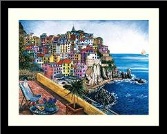 Manarola art print poster with simple frame