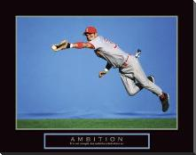 Ambition - Baseball Player art print poster with block mounting