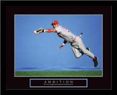 Ambition - Baseball Player art print poster with simple frame
