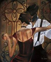 Evening Tango art print poster transferred to canvas