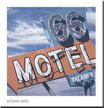 66 Motel art print poster with block mounting