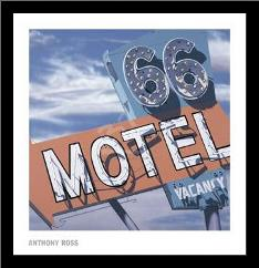 66 Motel art print poster with simple frame