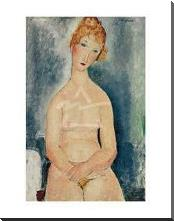 Seated Nude, Ca 1918 art print poster with block mounting