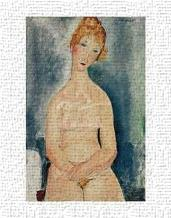 Seated Nude, Ca 1918 art print poster transferred to canvas
