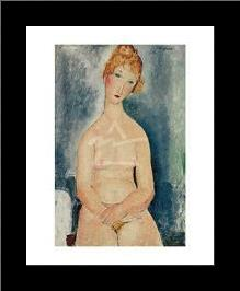 Seated Nude, Ca 1918 art print poster with simple frame
