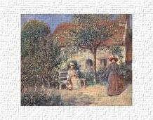 Garden Scene In Brittany, C 1886 art print poster transferred to canvas