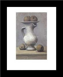 Still Life With Pitcher And Apple art print poster with simple frame