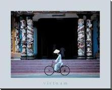 Follower of Cao Dai, Tay Ninh Temple art print poster with block mounting