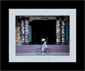 Follower of Cao Dai, Tay Ninh Temple art print poster with simple frame