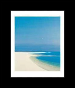 Moon Over The Bay art print poster with simple frame
