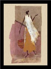 Woman With A Basket art print poster with simple frame