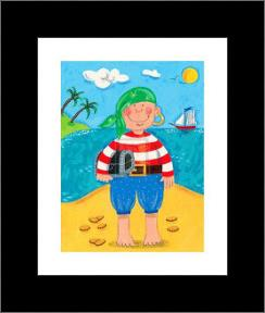 Treasure Island I art print poster with simple frame