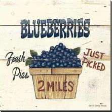 Blueberries Just Picked-6X6 art print poster with block mounting