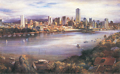 Brisbane from Kangaroo Point poster print by Kenneth Jack